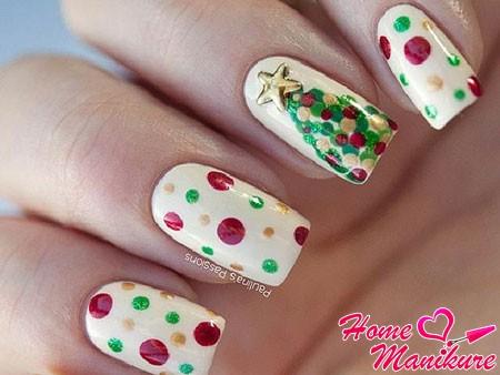 дизайн ногтей с елочкой