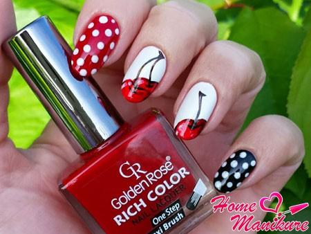 дизайн ногтей с вишенками