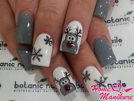 гелевые ногти с рисунками на Новый год