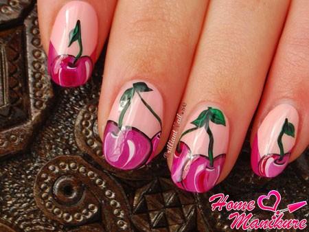 красивые рисунки вишни на ногтях