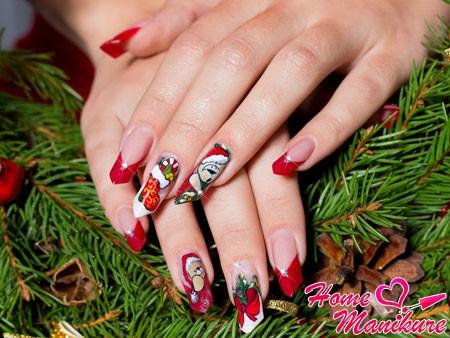 нарощенные ногти на Новый год