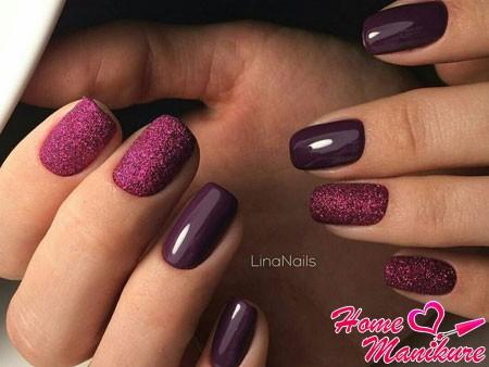 новогодний дизайн ногтей в винных тонах