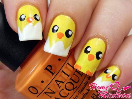 простые рисунки цыплят на ногтях