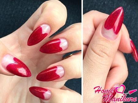 вишневый лунный дизайн ногтей