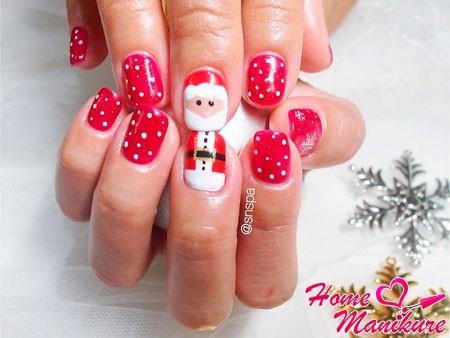 дизайн ногтей с Дедом Морозом