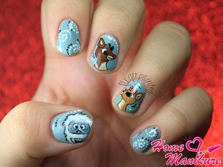 милый дизайн ногтей с оленями