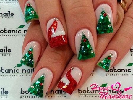 новогодний маникюр с елкой и шапкой Деда Мороза