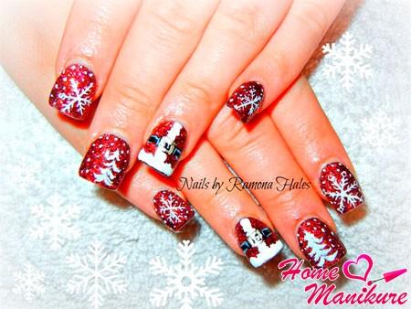 новогодний нейл-арт с одеждой Деда Мороза