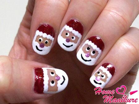 простые рисунки Деда Мороза на ногтях