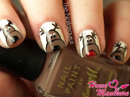 рисунки оленей на белых ногтях
