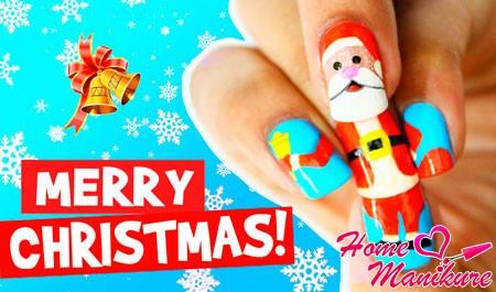 рисунок Деда Мороза на все пять пальцев