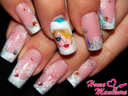 Снегурочка на ногтях