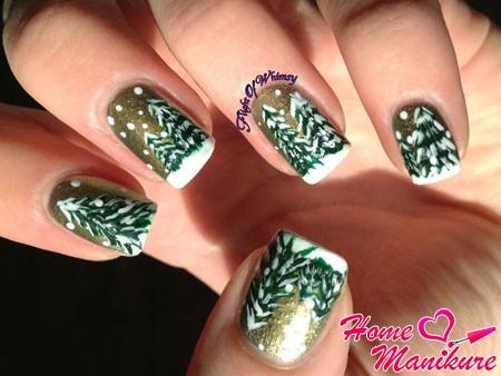 заснеженные елки на ногтях