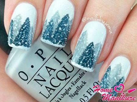 зимний пейзаж с елками на ногтях