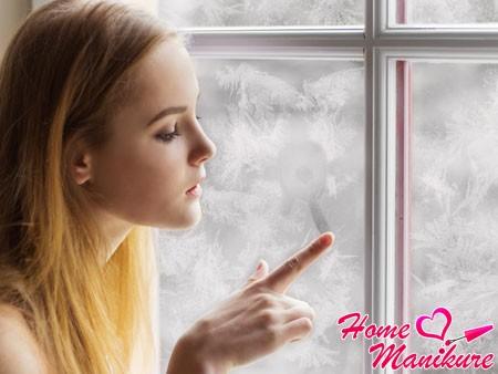 Эффект замерзшего окна в нейл-арте