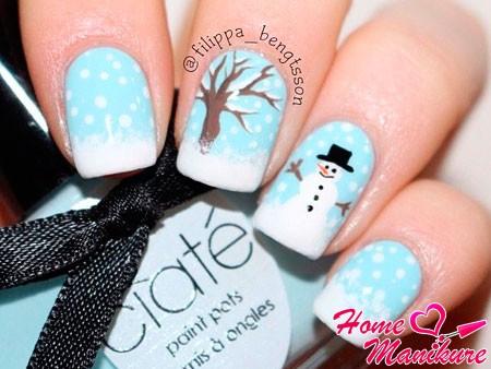 милый дизайн ногтей со снеговиком
