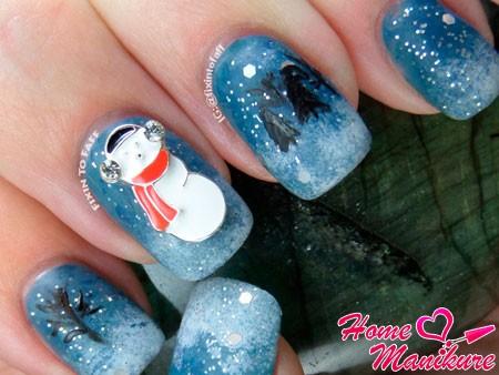нейл-арт с декором снеговика
