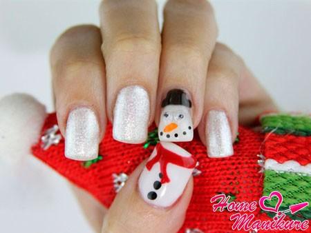 ногти гелем со снеговиком