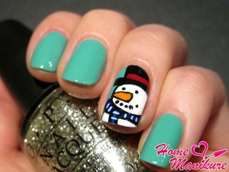 рисунок снеговика на безымянном пальце