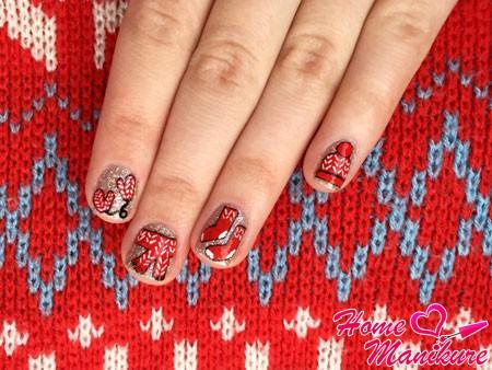 зимняя вязаная одежда на ногтях