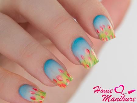 красивый пейзаж с тюльпанами на ногтях