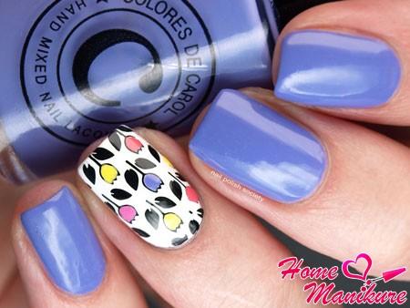 стемпинг-дизайн ногтей с тюльпанами