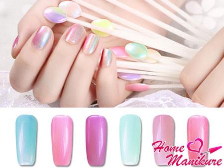 Перламутровый маникюр: жемчужный дизайн ногтей с белыми, голубыми и розовыми оттенками