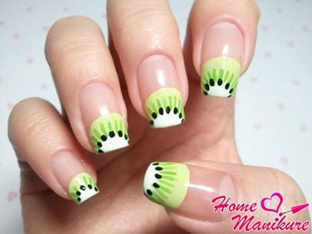 Маникюр киви на ногтях: как рисовать дизайн ногтей пошагово (фото и видео)