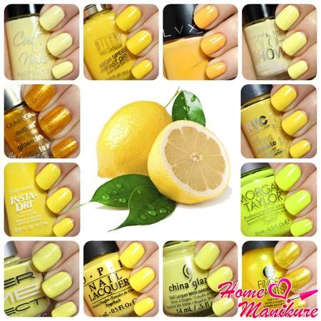 лимонные оттенки лака для ногтей