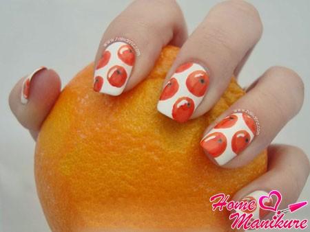 рисунки целых апельсинов на ногтях