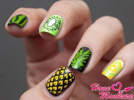рисунок ананаса на два пальца