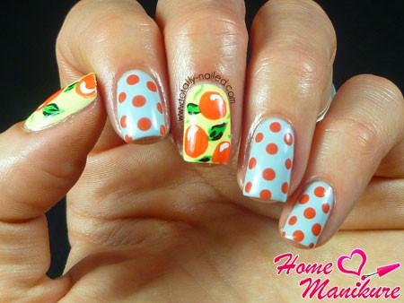 стильный нейл-арт с апельсинами