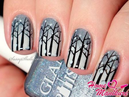 зимний дизайн ногтей с ветками